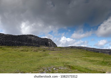 A long path through fields, karst landscapes and outer walls leads to this entrance to the inner enclosure of Dun Aonghasa (Dun Aengus) of Inishmore, Aran Islands, County Galway, Ireland.