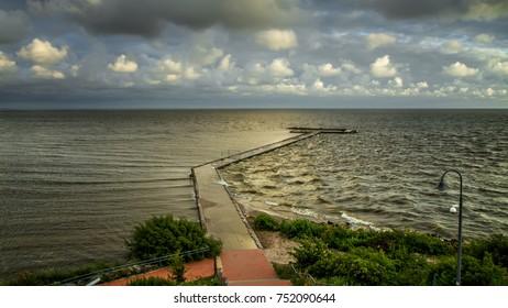 Long pier in Baltic Sea