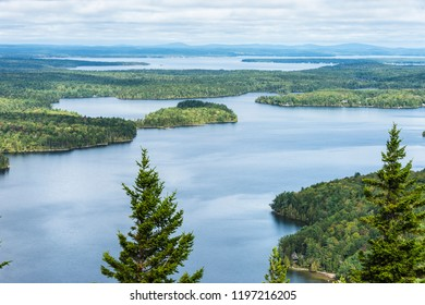 Long Pond from Beech Mountain in Acadia National Park, with shadows and reflections of clouds