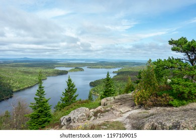 Long Pond from granite bluff on Beech Mountain in Acadia National Park