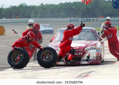 Long Pond, PA, USA - August 5, 2012:  NASCAR driver Kevin Harvick makes a pit stop during the 2012 NASCAR Pennsylvania 400 at Pocono Raceway in Pennsylvania.