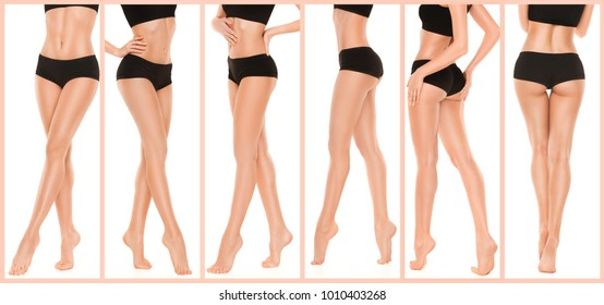 Long pretty woman legs isolated on white background. Collage