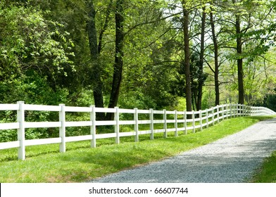 Long, private, country road along a white picket fence.