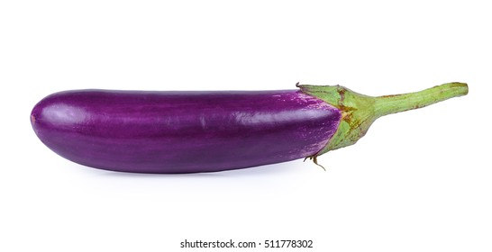 Long Purple Aubergine or Eggplant (Solanum melongena) isolated on white
