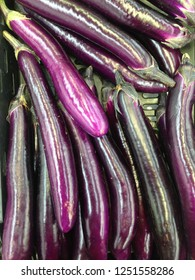 Long purple chinese eggplants fruits, also known as aubergine or brinjal fruits