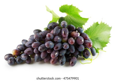 long purple grapes isolated on the white background