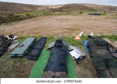Long range Rifle target shooting at a gun range in rural Ireland