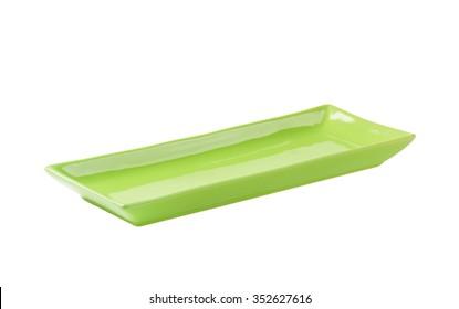 Long rectangular green ceramic serving platter