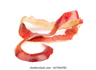Long red apple peel. Isolated on white background. Twisted