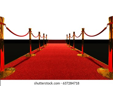 Long red carpet between rope barriers, white background