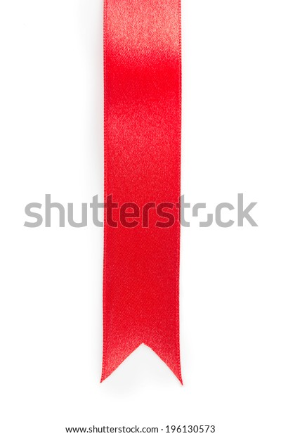 Long red ribbon ornament or emblem, isolated on white.