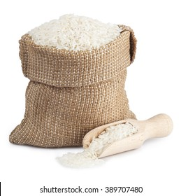 Long rice in a sack and wooden scoop  isolated on white background