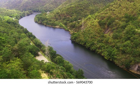 Long river and forest environment background