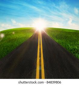 long road in beautiful nature