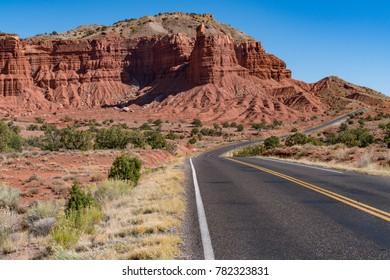Long road into Capitol Reef National Park, Utah
