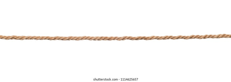 Long rough brown rope isolated on white