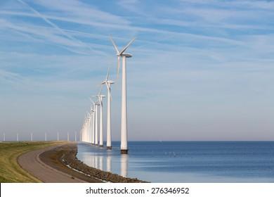 Long row off shore wind turbines along the Dutch coast