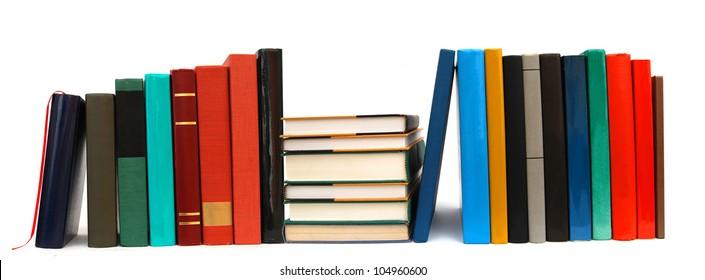 A long row textbooks on school