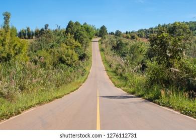 Long rural road on Khao kho hill, Phetchabun,Thailand