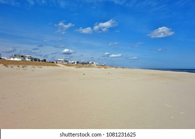 The long sand beach in Beach Haven on the Jersey Shore on Long Beach Island, New Jersey