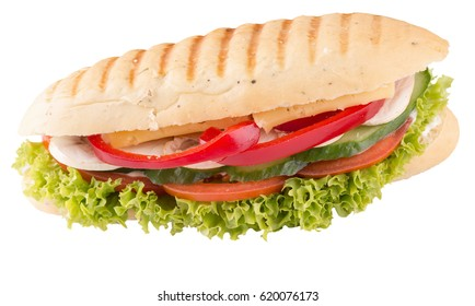 long sandwich isolated on a white background