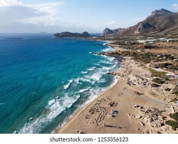 Long sea waves at Falasarna beach, Crete island, Greece