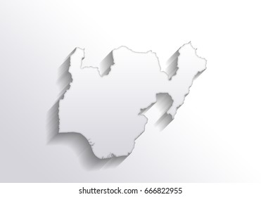 Long shadow map of nigeria country on white background.