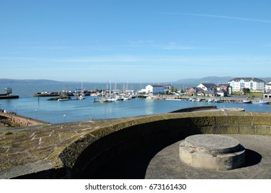 Long shot of Carrickfergus Castle, a Norman Irish castle in Northern Ireland in the County Antrim, on the northern shore of Belfast Lough