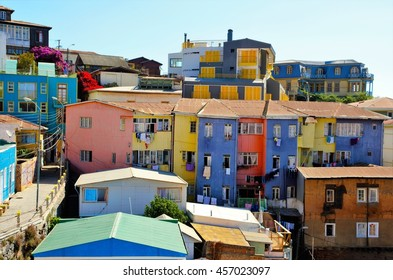 Long shot of the colorful houses in Valparaiso, Chile