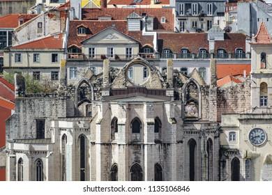 Long shot of Convento do Carmo ruined monastery in Lisbon
