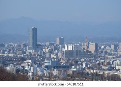 Long shot of Hachioji city from Naganuma Park, Hachioji, Tokyo, Japan