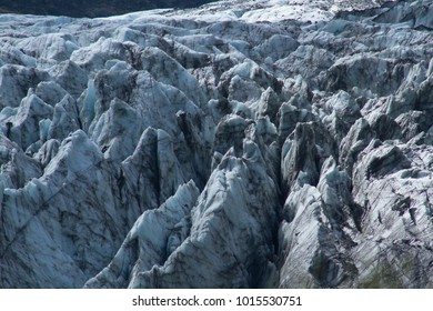 Long Shot Of Ice Channels  Fox Glacier New Zealand