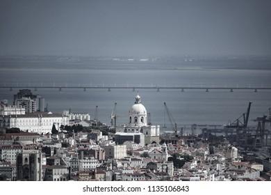Long shot of Lisbon with cathedral, pantheon and Vasco da Gama bridge