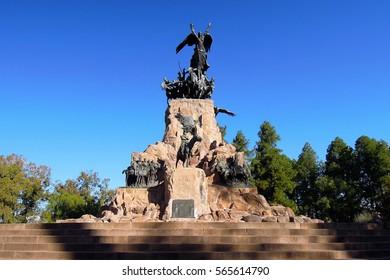 Long shot of the monument on top of the hill Cerro de la Gloria in Mendoza Argentina, South America