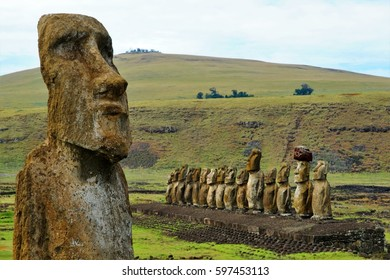 Long shot of a row of Moai sculptures at the Tongariki platform in Easter Island, Rapa Nui, Chile, South America