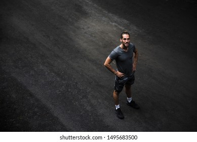 Long shot of runner with copy space