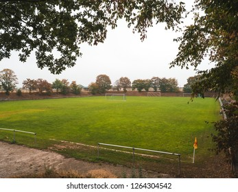 Long shot of Rural grass soccer pitch in Germany