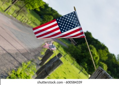 Long shot of small American flag decoration for Fourth of July celebration