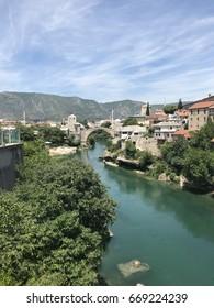 Long shot of the Stari Most bridge in Mostar, Bosnia and Herzegovina in 2017