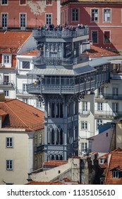 Long shot view of The Santa Justa Lift in the middle of the city of Lisbon