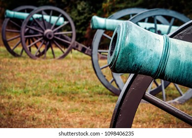 The long silent cannons of an American Civil War battlefield in Virginia.