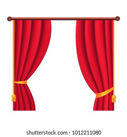 Long silk red theater curtain hangs on cornice on white background. Luxury scarlet silk curtain on curtain-rod. Theatre, banquet and concert hall decoration icon isolated  illustration.