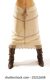 Long skirt and boot isolated