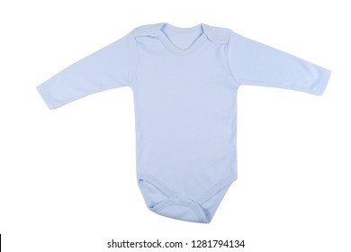 Long sleeve blue baby onesie isolated on white background.