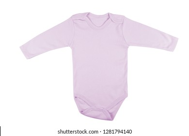 Long sleeve purple baby onesie isolated on white background.