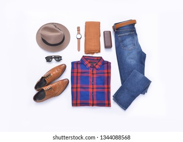 long sleeve red and blue checkered shirt with leather shoes ,watch, sunglasses, hat, scarf on white background