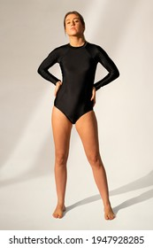 Long sleeve swimsuit in black swimwear fashion with design space full body