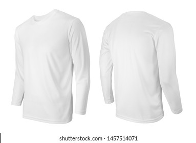 Long sleeve white t-shirt front and back side view isolated on white