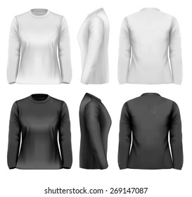 Long sleeved female t-shirts with sample text space.