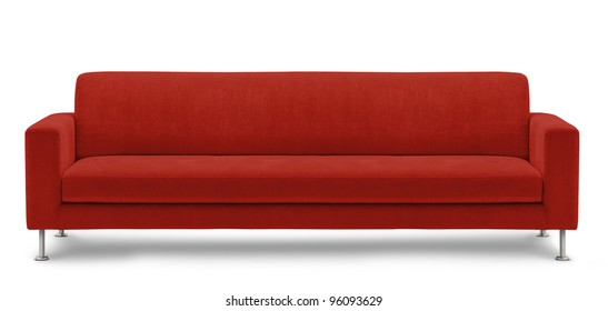 long sofa, bench on white background